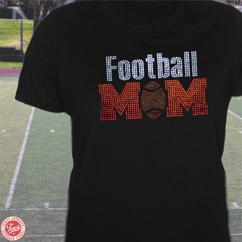 """Football Mom"" Rhinestone T-Shirt"