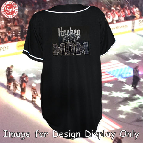 """Hockey Mom 6"" Rhinestone Jersey"