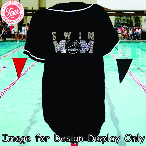 Swim Mom #1 rhinestone jersey