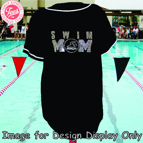 """Swim Mom 1"" Rhinestone Jersey"