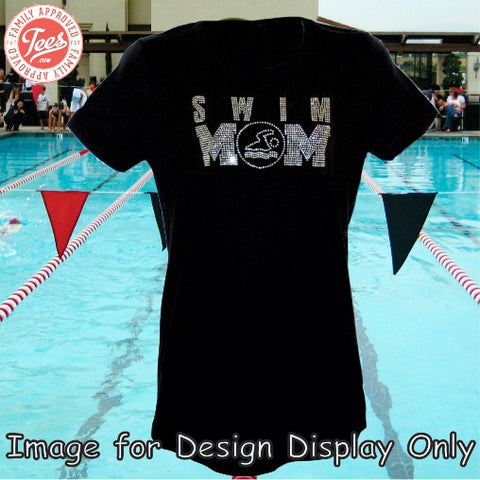 """Swim Mom 1"" Rhinestone T-Shirt"