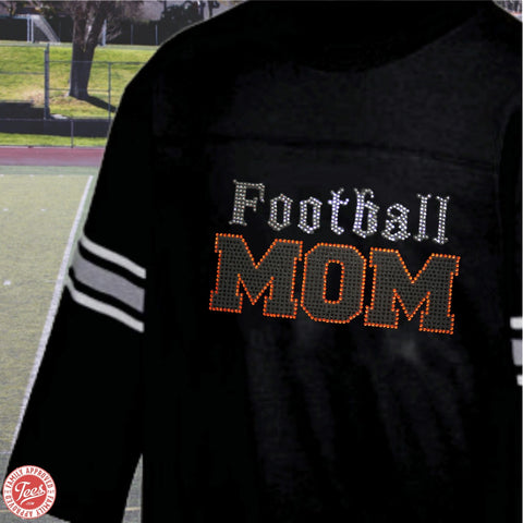 """Old School Football Mom"" Rhinestone Jersey"
