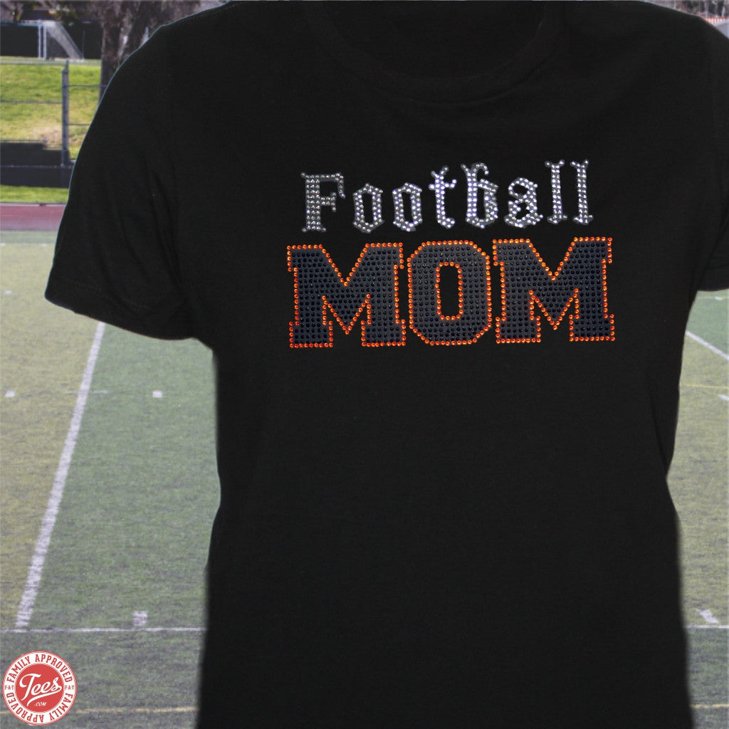 """Old School Football Mom"" Rhinestone Tee"