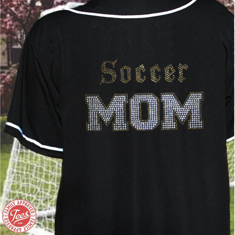 """Old School Soccer Mom"" Rhinestone Jersey"