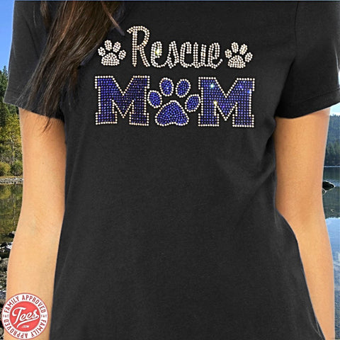 """Rescue Mom"" Rhinestone T-Shirt"