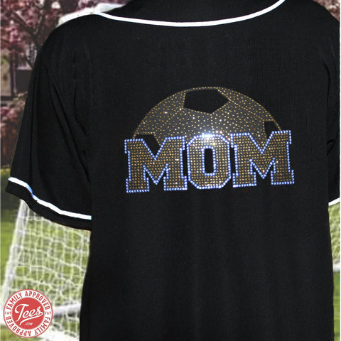 """Soccer Mom World"" Rhinestone Jersey"