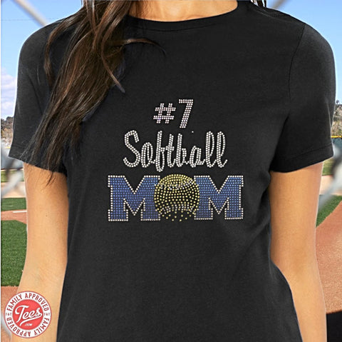 """Softball Mom 2"" Rhinestone T-Shirt"