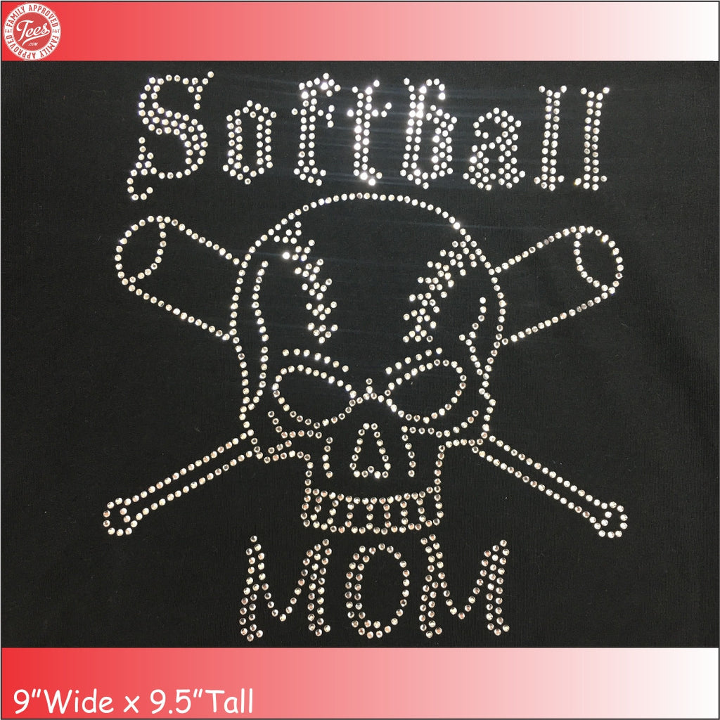 """Softball Mom 7"" Rhinestone Tee"
