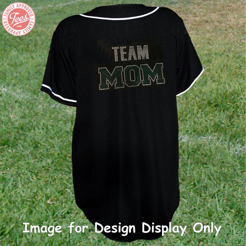 """Team Mom 1"" Rhinestone Jersey"