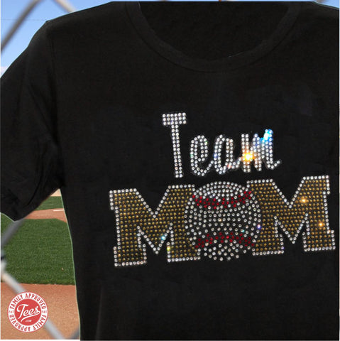 """Team Mom 3"" Rhinestone T-Shirt"