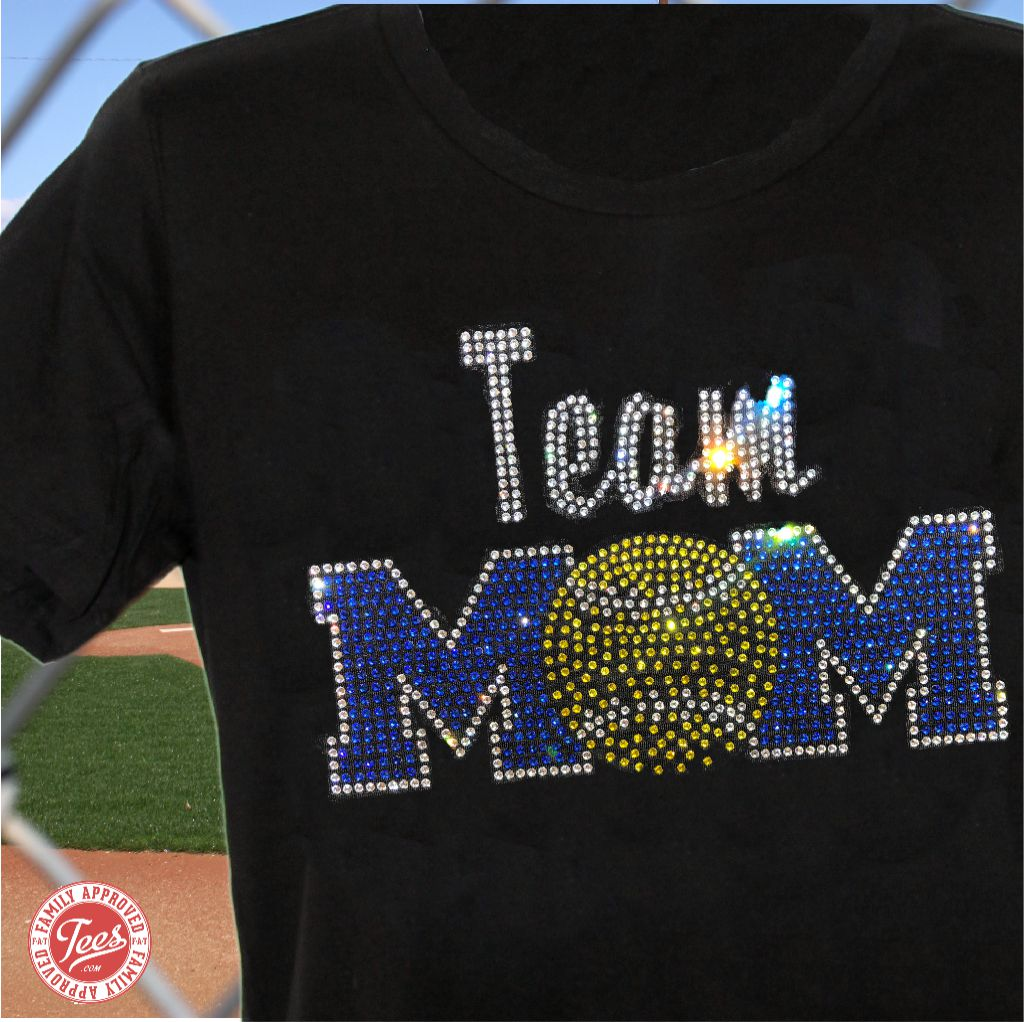 Team Mom 2 rhinestone tee