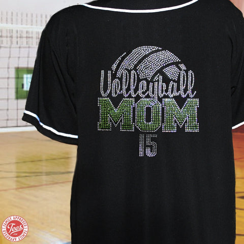 """Volleyball Mom 3"" Rhinestone Jersey"