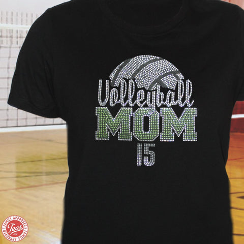 """Volleyball Mom 3"" Rhinestone T-Shirt"