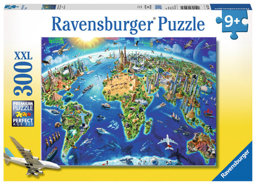 Picture of a Ravensburger 300 piece jigsaw puzzle box  showing world landmarks.