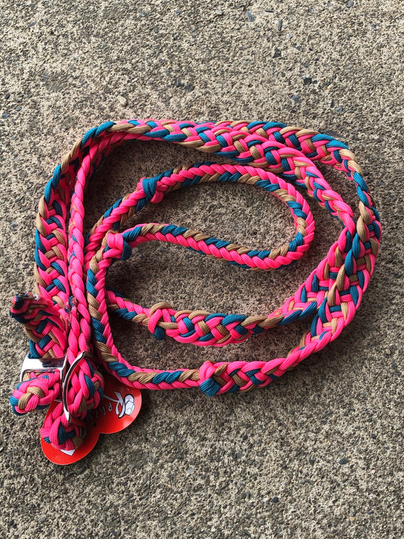 Pink/Turquoise/Brown Barrel Reins