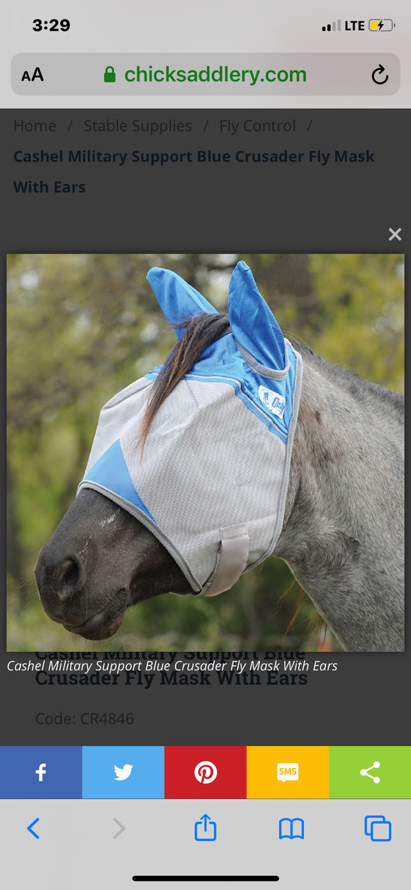 Cashel Fly Mask with ears - Military Support