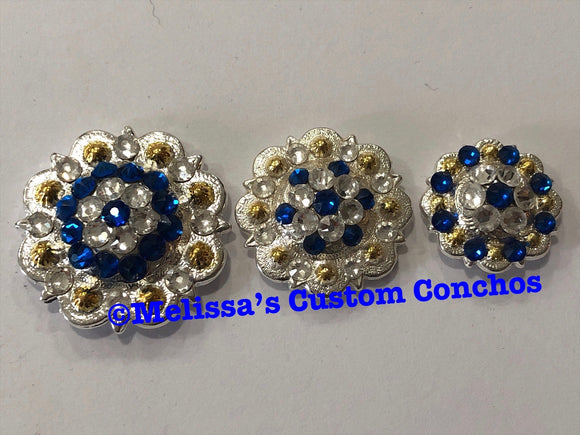 Capri Blue & Crystal Clear on Shiny Silver w/ gold