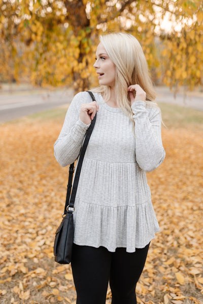 Winning In Heathered Gray Tiered Top