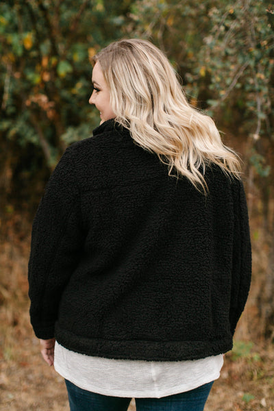 Foxy Sherpa Jacket In Jet Black