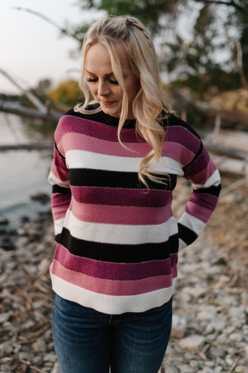 Keep Me In Mind Color Block Sweater In Plum Rose