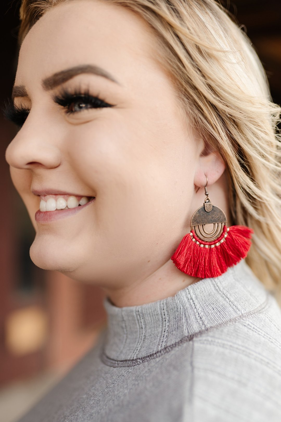 Dress Me Up Earrings In Ruby Red