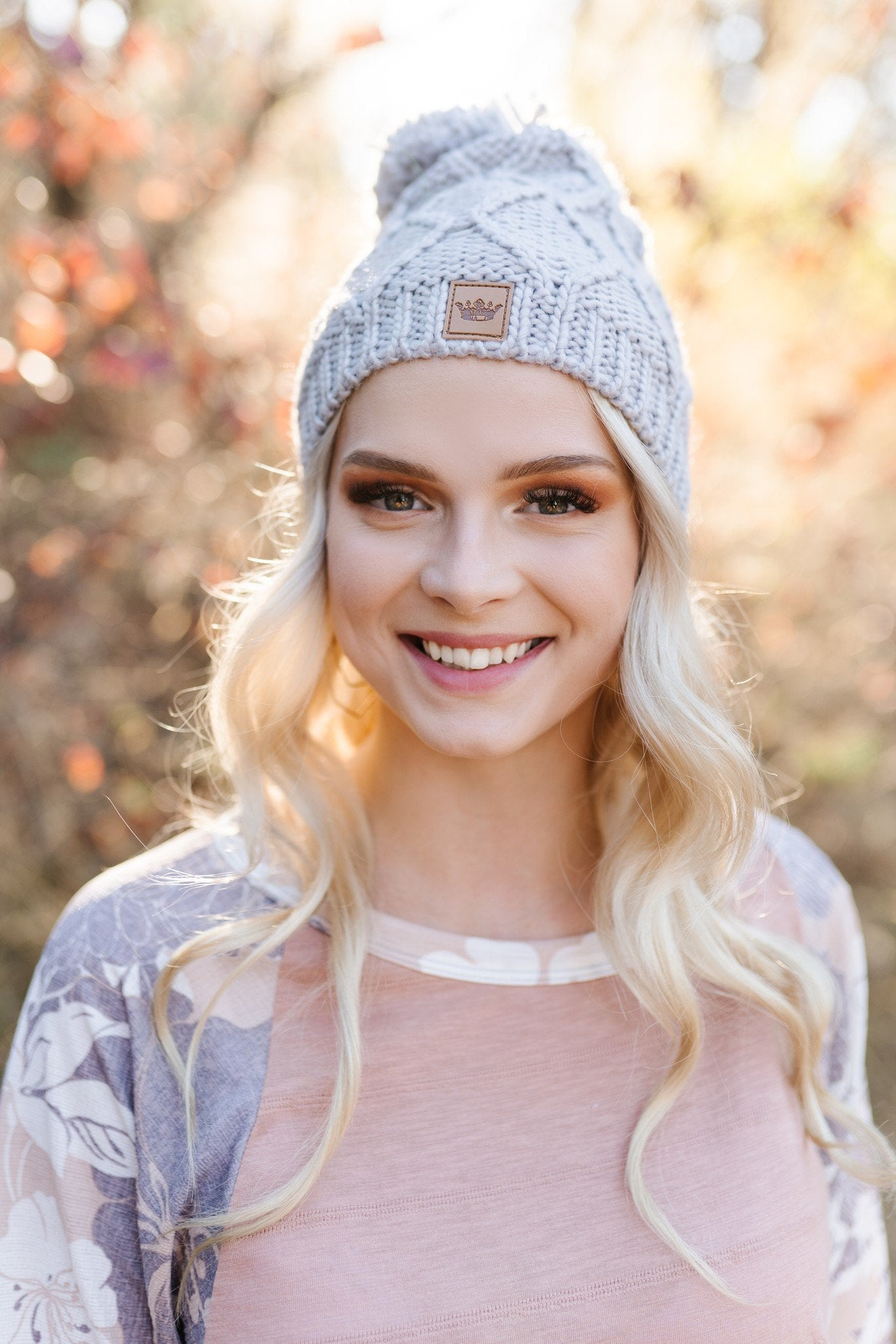 You Hat Me At Hello Light Gray Diamond Knit Hat