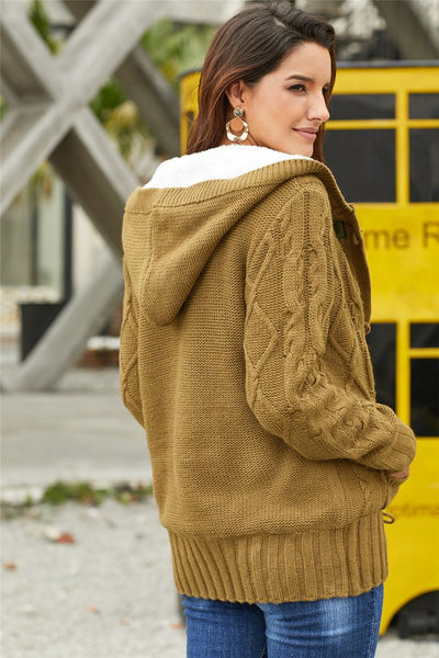PREORDER - Fur Hood Knit Cardigan Jacket MULTIPLE COLORS