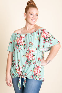 Buttery soft floral off the shoulder top