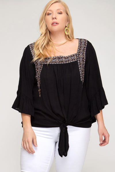 Aztec Embroidered Flounce Sleeve Top