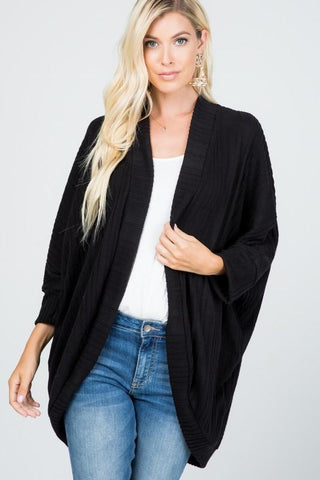 Banded Ribbed Cardigan - Black
