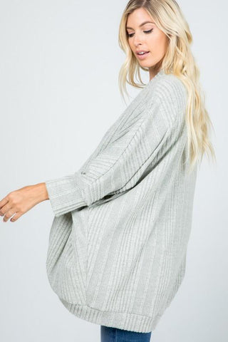 Banded Ribbed Cardigan - Grey