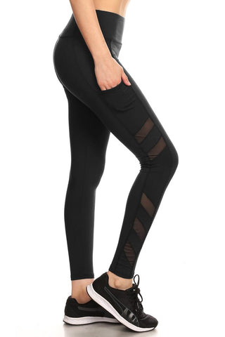 Hi Waisted Mesh Stripe Yoga Leggings - Black