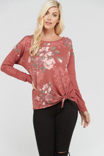 Floral Front Solid Back Tie Top - Marsala