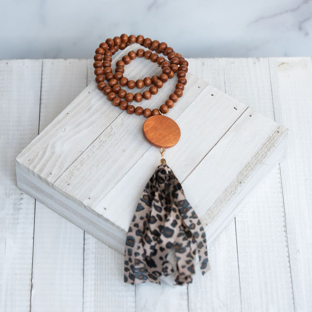 Wooden Bead Tassel Necklace MULTIPLE COLORS