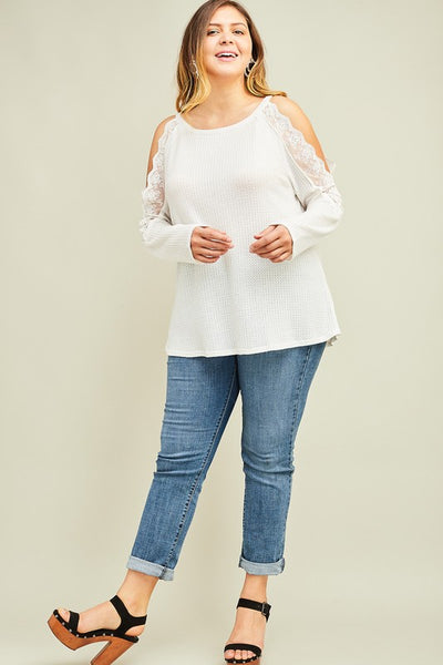 Cold Shoulder Lace Sleeve Waffle Top