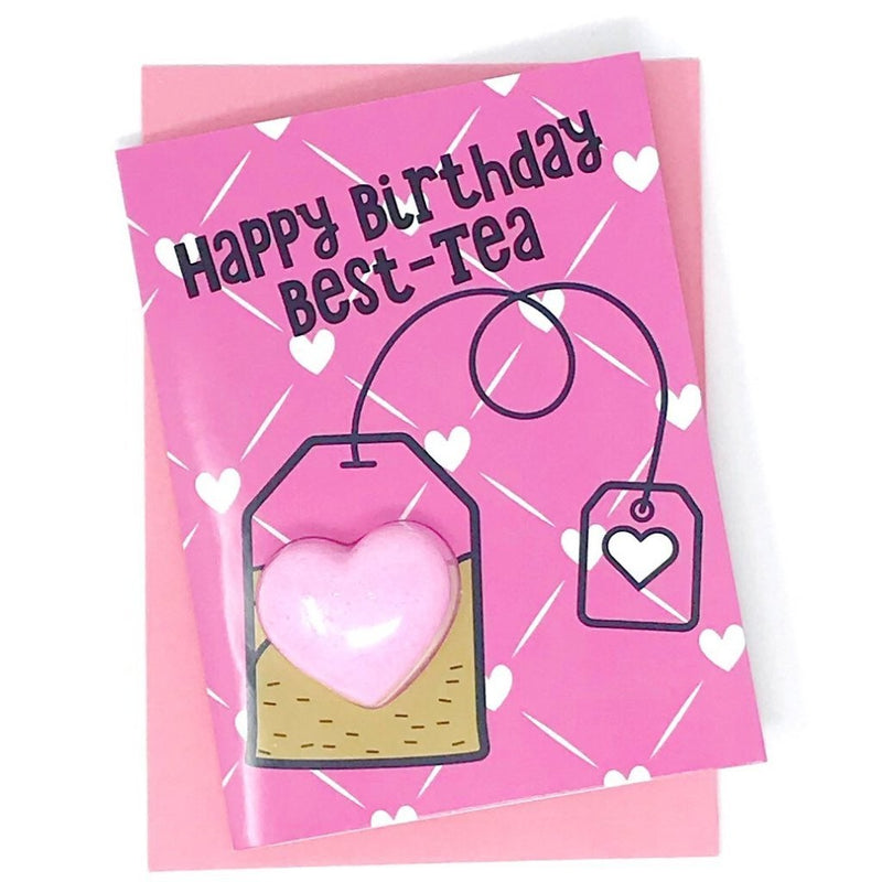 Happy Birthday Best-tea Bath Bomb Fun Fizzy Greeting Card