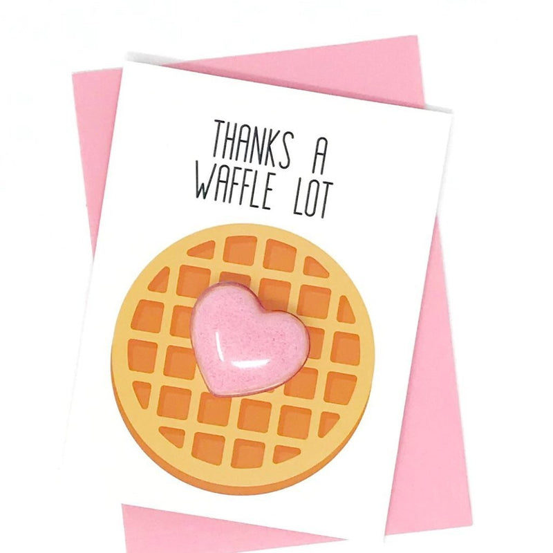 Thanks a Waffle Lot Bath Bomb Fun Fizzy Greeting Card