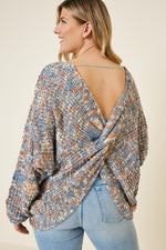 Blended Twist Back Sweater - Blue Brick Blend