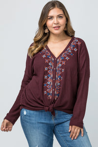 Embroidered Button Front Top - Burgundy