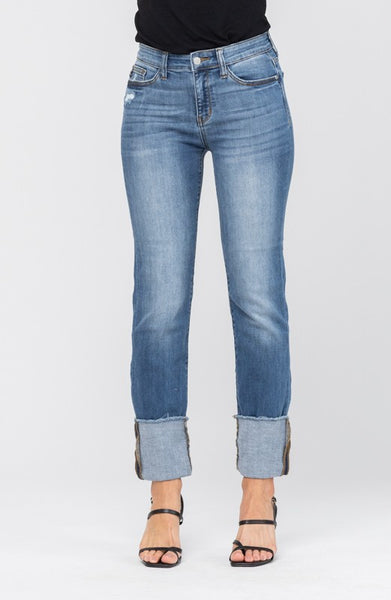 Straight Cut Cuffed Leg Jeans