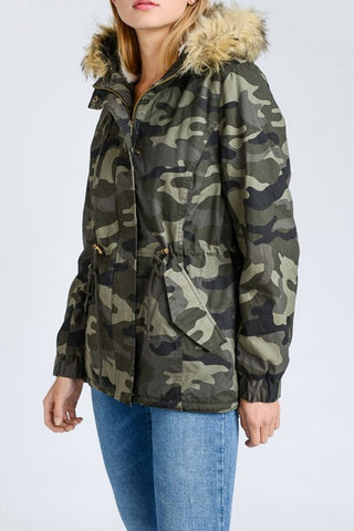 Faux Fur Camo Jacket
