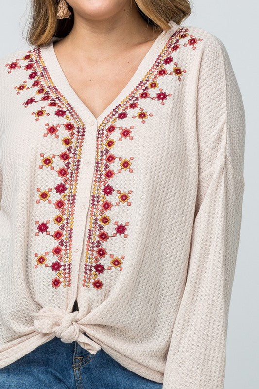 Embroidered Button Front Top - Oatmeal
