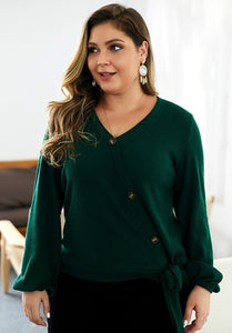Ribbed Knit Button Down Top - Green