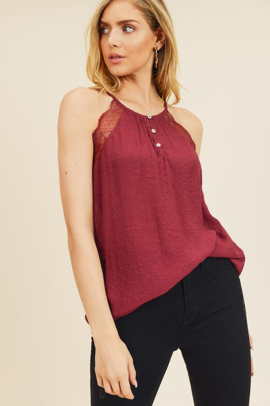 High Neck Lace Trimmed Top