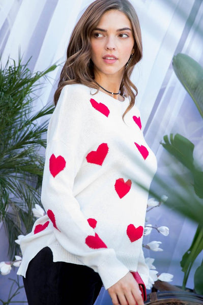 All over hearts sweater