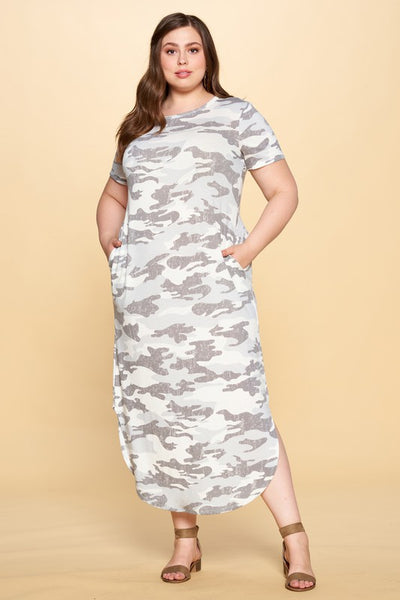 Camo Knit Maxi Dress with Pockets