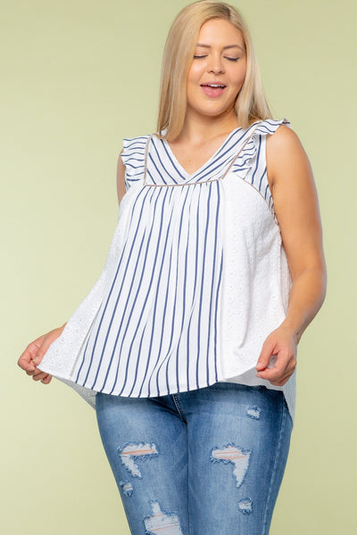 Stripe and Embroidery Mixed Ruffle Tank top