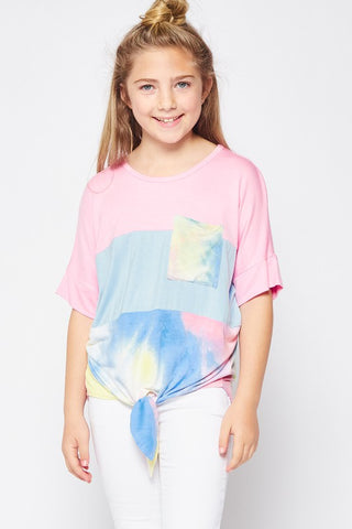 Tie Dye Color Block Knot Top