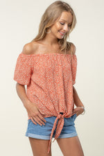 Sweet floral off the shoulder top