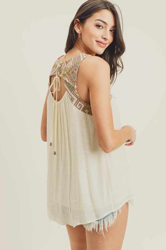 Mixed Embroidery Open Back Tank Top